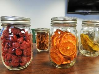 glass jars of homemade dry fruits