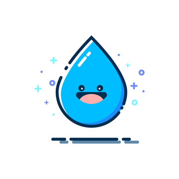 Smiling Water Droplet with MBE Style. Cartoon Water Droplet with a Smile
