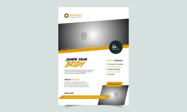 Fitness & Gym - Sports Business Flyer, Fitness Gym Flyer Template, Fitness center flyer modern typographic layout,  sport event cover design template A4 size with bodybuilder man silhouette Vector