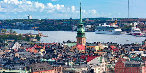 Scenic summer aerial view of Gamla Stan in the Old Town in Stockholm, capital of Sweden Fototapete