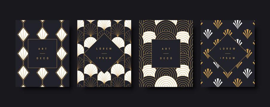 Art deco luxury greeting card background set