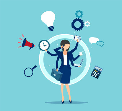 Vector of a multitasking businesswoman with many hands performing several tasks at the same time.