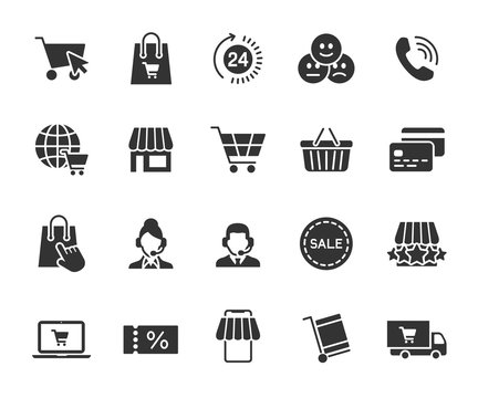 Vector set of online shopping flat icons. Contains icons online store, feedback, shopping cart, delivery, support, payment card and more. Pixel perfect.