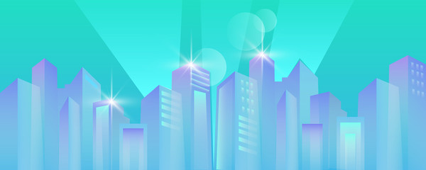 Foto auf Leinwand Reef grun Vector horizontal city background with skyscrapers in blue trendy colors. Urban panoramic view with modern architecture in flat style. Abstract neon banner