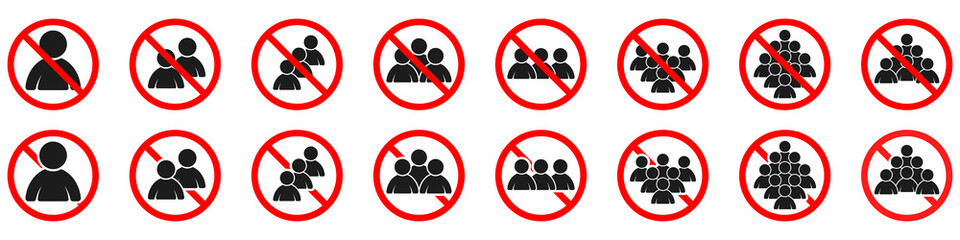 Ban of crowd of people. Prohibition to get together Fototapete