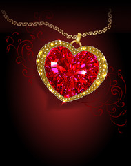 Beautiful ruby red heart shaped with a shiny gold rim and a gold chain on a dark background. Vector illustration.