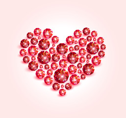 Valentine made up of bright red diamonds on a light pink background. Vector illustration.