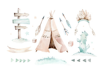 Watercolor set with mexican ethnic elements: cactus ,teepee tent, traditional wigwam, feather, arrow. Boho party invitation. Baby boy baby shower. Wild west