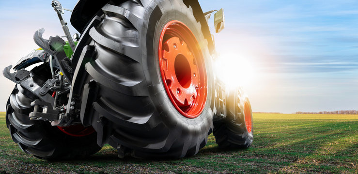 Bottom view of tractor. Close up of wheels