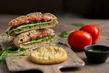 Tasty healthy sandwich turkey with pesto sauce