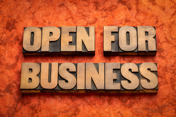 Papiers peints Londres open for business word abstract in wood type