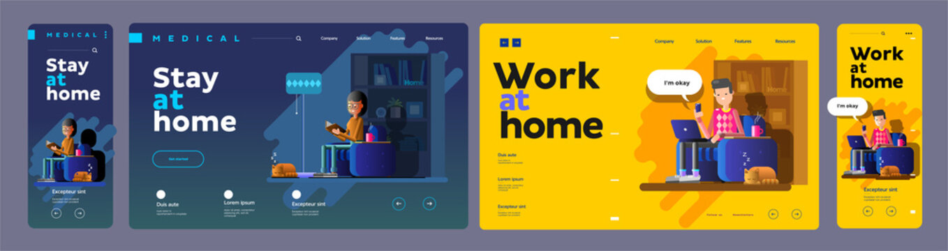 A vector flat illustration of a young man and a young woman working at home during Covid-19. Everyone stays at home. Remote work from home during quarantine. Website template