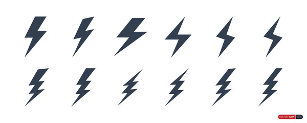 Flash Thunderbolt Icons Set isolated on white background. Lightning Vector Design Template Element. Usable for Electricity Logos