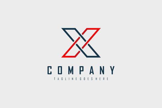 Red Blue Geometric Line Letter X Logo. Flat Vector Logo Design Template Element.