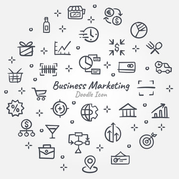Business Marketing doodle icon graphic design