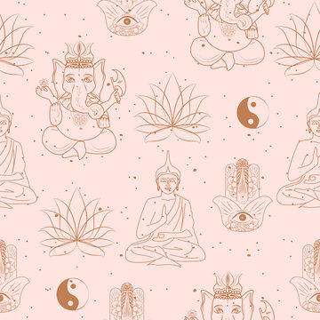Seamless pattern with buddhism and hinduism, yoga objects, buddha, ganesha, mandala, lotus in one line style. Editable vector illustration.
