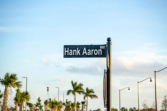 "A street sign denoting ""Hank Aaron Way"""