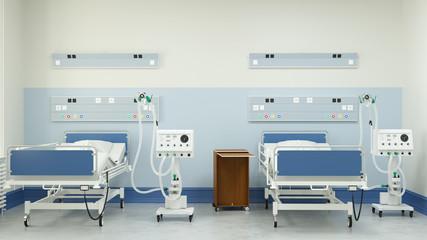 Doppelzimmer mit zwei Beatmungsgeräten in Klinik