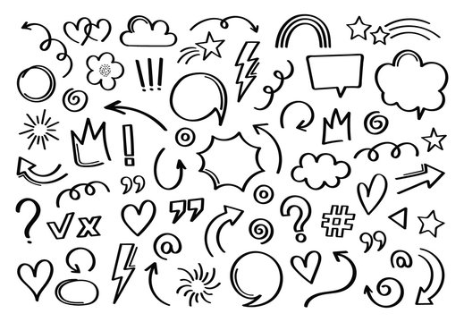 Super set different hand drawn element. Collection of arrows, crowns, circles, doodles on white background. Vector graphic design
