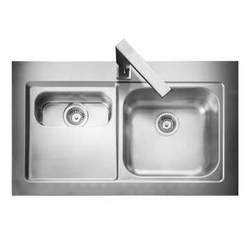 Kitchen Sink Isolated on White Background. Stainless Steel Double Bowl Inset Sink with Tap. Kitchen Sink Top View. Built-In Appliances. Kitchen Appliance. Domestic Appliances