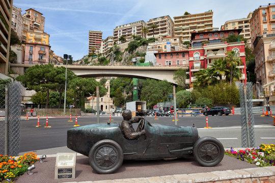 Principality of Monaco - April 16, 2018: Statue of William Grover (WILLIAMS) in his Bugatti 35B, winner of the first Monte Carlo Grand Prix 1929