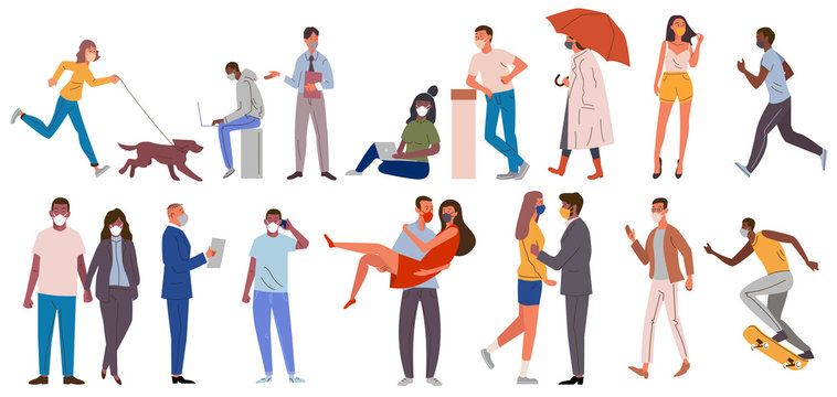 Multiracial people casual clothes with protective medical face masks different poses. Men women wearing protection from coronavirus, covid 19, 2019 nCoV, urban air smog pollution vector illustration