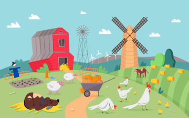 Modern farm scene with cute animals flat cartoon vector illustration concept, background