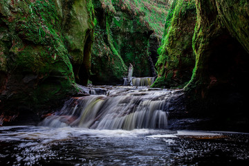 Printed kitchen splashbacks Forest river gorge of glen finnich also known as the Devil pulpit, highlands, scotland, uk.