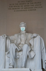 Abraham Lincoln Memorial with a surgical face mask as a symbol of the coronavirus global outbreak