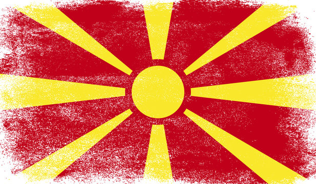 Macedonia flag with grunge texture
