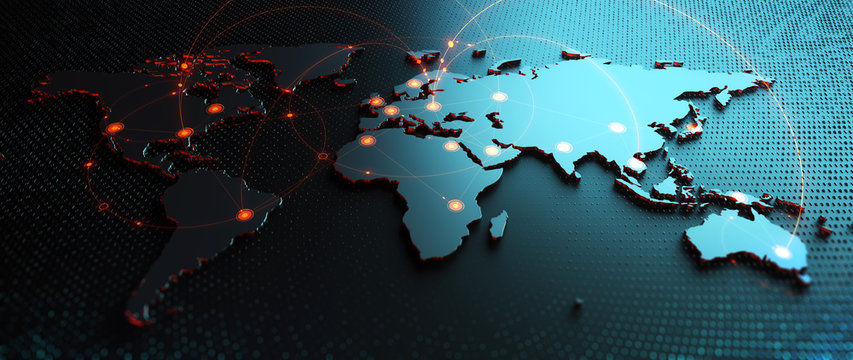 Global  Background/Connection lines around Earth globe, futuristic technology  theme background with circles and lines. Concept of internet, social media, traveling or logistics