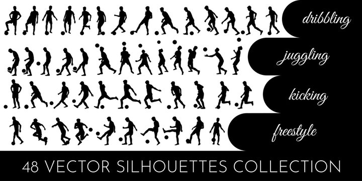 Vector illustration. Set of 48 black silhouettes on white background. Professional footballer. Body motion. Dribbling, ball juggling, passing, kicking, freestyle skills. Design for emblems and logos