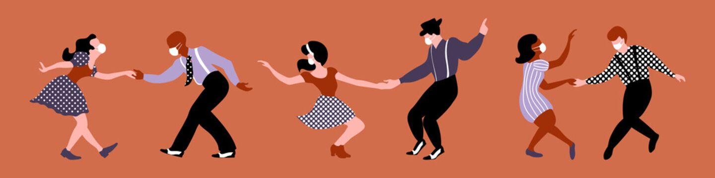 Men and women dancing lindy hop with medical masks on their faces. Three couples silhouettes. Quarantine party. Vector illustration.