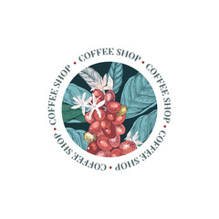 Coffee shop round emblem with colorful coffee branch