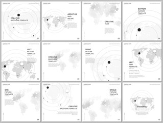 Brochure layout of square format covers design templates for square flyer, brochure design, report, presentation, magazine cover. World map concept backgrounds with world map infographics elements.