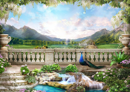 Beautiful view from the flower-covered balcony to the mountain lake and pink sunrise. Digital collage , mural and fresco. Wallpaper. Poster design.