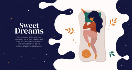 Fototapeta Sweet dreams, good health concept. Young woman sleeps on side. Vector illustration of girl and cat in bed, night sky, stars. Advert of mattress. Design template with pose of sleeping for flyer, layout obraz