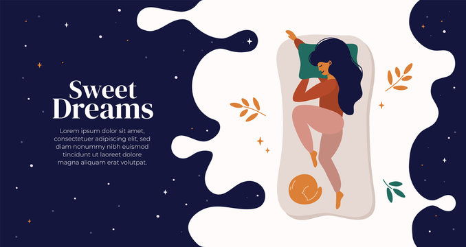 Sweet dreams, good health concept. Young woman sleeps on side. Vector illustration of girl and cat in bed, night sky, stars. Advert of mattress. Design template with pose of sleeping for flyer, layout