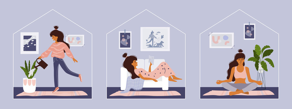 Stay home concept. Girl takes care for houseplants, reading book, doing yoga. Cozy modern scandinavian interior. Self isolation, quarantine due to coronavirus. Set of illustration of  home activities