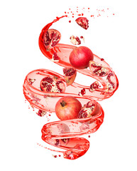 Pomegranate with splashes of juice in a swirling shape, isolated on white background
