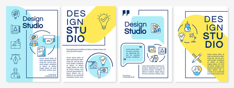 Design studio brochure template. Creative agency services. Flyer, booklet, leaflet print, cover design with linear icons. Vector layouts for magazines, annual reports, advertising posters