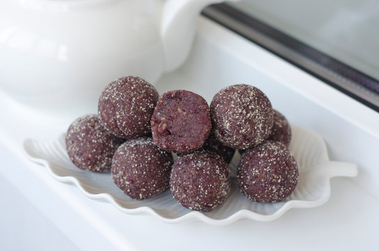 Handmade candies from cranberries dates and nuts