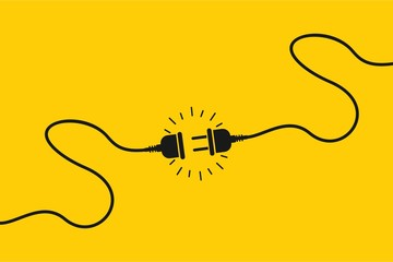 Electric socket with a plug. Concept of 404 error connection. Electric plug icon and outlet socket unplugged. cable of energy disconnect, vector Illustration