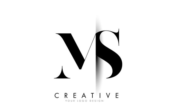 MS M S Letter Logo with Creative Shadow Cut Design.