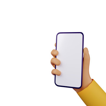 Hand holding smartphone on white background. 3d render