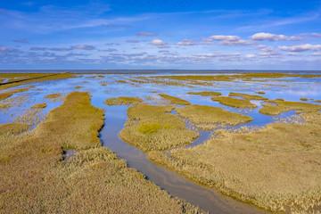 Wall Mural - Aerial view Tidal Marshland Waddensea