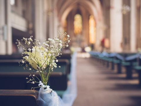 wedding  decoration in the church