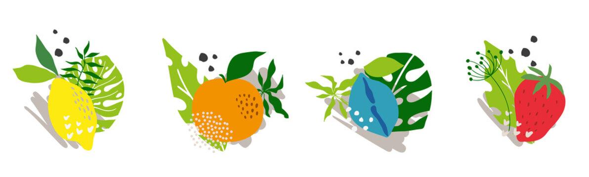 Set template peach, plum, strawberry, lemon, orange vector background