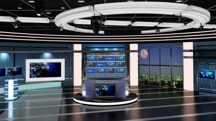 Virtual TV Studio News Set 27. 3d Rendering. Virtual set studio for chroma footage. wherever you want it, With a simple setup, a few square feet of space, and Virtual Set, you can transform any locati