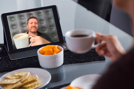 A virtual toast in a video conference  during lockdown in the era of Coronavirus